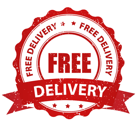 free: Free delivery grunge red rubber seal  stamp on white background