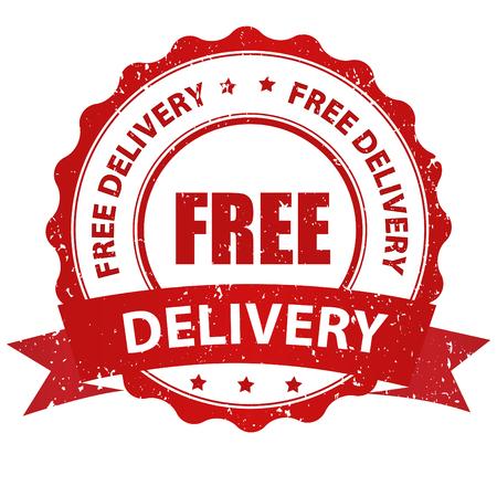 Joint en caoutchouc rouge Livraison gratuite grunge / timbre sur fond blanc Banque d'images - 44272513
