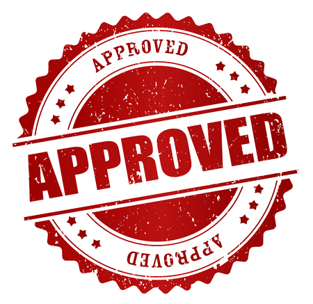 approval icon: Red grunge approved rubber stamp isolated on white background