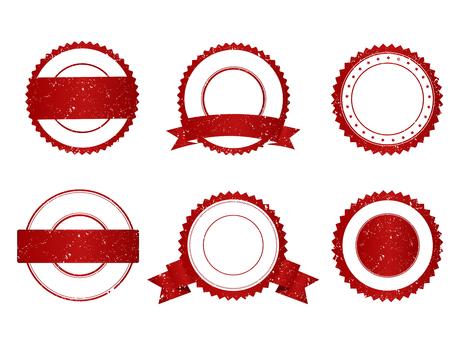 sellos: Colección de elegantes grunge rojo y blanco vacíos estampillas  sellos Vectores