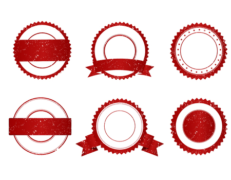 seal of approval: Collection of elegant red and white grunge empty stamps seals