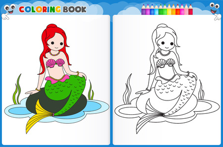 assignments: Coloring page mermaid with colorful sample printable worksheet for preschool  kindergarten kids to improve basic coloring skills
