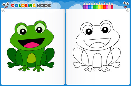 practice: Coloring page cute frog with colorful sample printable worksheet for preschool  kindergarten kids to improve basic coloring skills Illustration