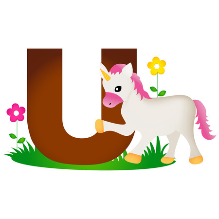 flash card: Colorful animal alphabet letter u with a cute unicorn flash card isolated on white background