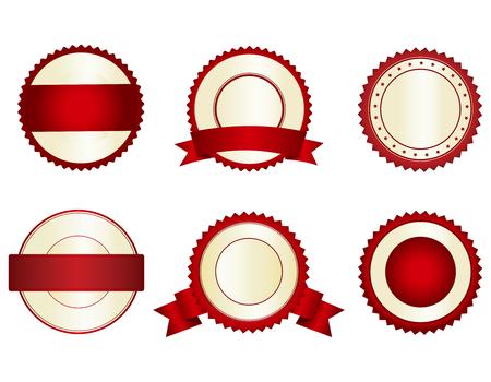 Het verzamelen van elegante rode en gouden lege stempels  zegels Stock Illustratie