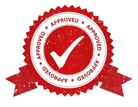 passed stamp: Red grunge approved rubber stamp isolated on white background