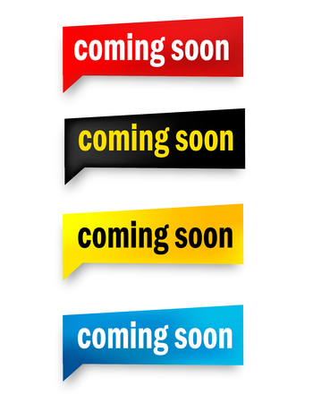 Coming soon speech bubble / web button collection isolated on white