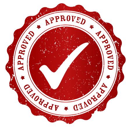 白い背景で隔離赤いグランジの承認スタンプ  イラスト・ベクター素材