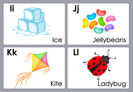 phonetic: Alphabet with colorful  pictures printable flash card collection