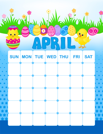 month: Colorful wall calendar page template with seasonal graphics for each month. April easter themed calendar page