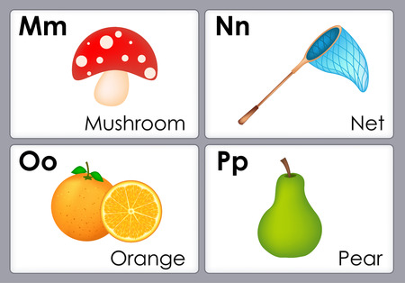 school kids: Alphabet with colorful pictures printable flash card collection