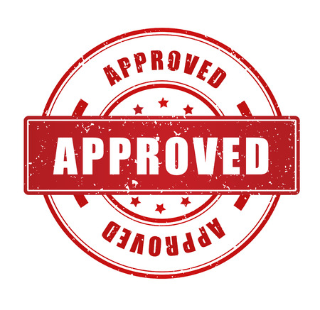 acception: Red grunge approved rubber stamp isolated on white background