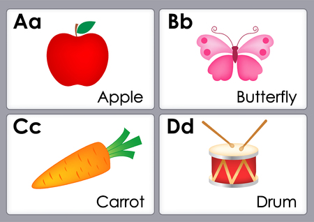 Alphabet with colorful pictures printable flash card collection