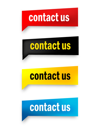 bubble speech: Contact us speech bubble  web button collection isolated on white Illustration