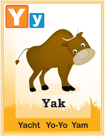 yam: Animal alphabet with cute animals and capital and simple letters with similar words illustration. Specially for preschool children learning books. Illustration