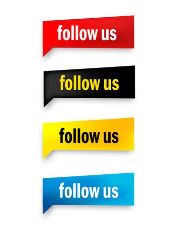 follow us: Follow us web button collection isolated on white