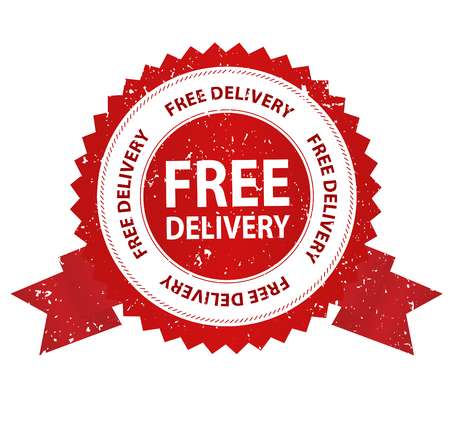 seal stamp: Free delivery grunge red rubber seal  stamp on white background