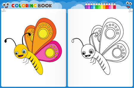 preschool children: Coloring page butterfly with colorful sample printable worksheet for preschool  kindergarten kids to improve basic coloring skills