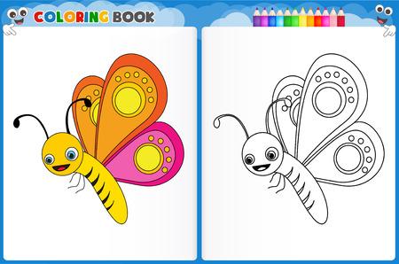 kinder: Dibujo para colorear mariposa con colorido hoja de trabajo imprimible muestra para los niños de preescolar  jardín de infantes para mejorar las habilidades básicas para colorear