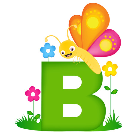 phonetic: Colorful animal alphabet letter B with a cute butterfly flash card isolated on white background