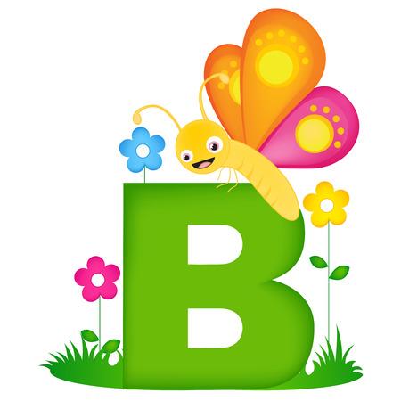 Colorful lettre de l'alphabet animal B avec un papillon carte flash mignon isolé sur fond blanc