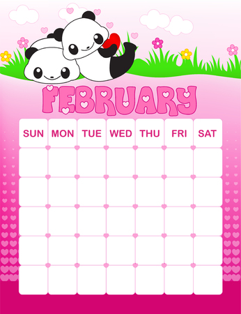 monthly planner: Colorful wall calendar page template with seasonal graphics for each month. February valentines day themed calendar page