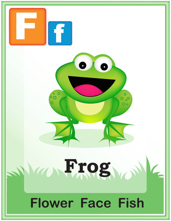 froggy: Animal alphabet with cute animals and capital and simple letters with similar words illustration. Specially for preschool children learning books. Illustration