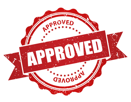 approval button: Red grunge approved rubber stamp isolated on white background