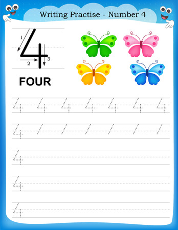 practice: Writing practice number four printable worksheet for preschool  kindergarten kids to improve basic writing skills Illustration