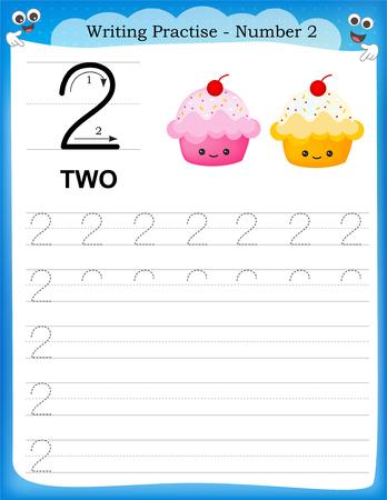 Writing practice number two printable worksheet for preschool / kindergarten kids to improve basic writing skills
