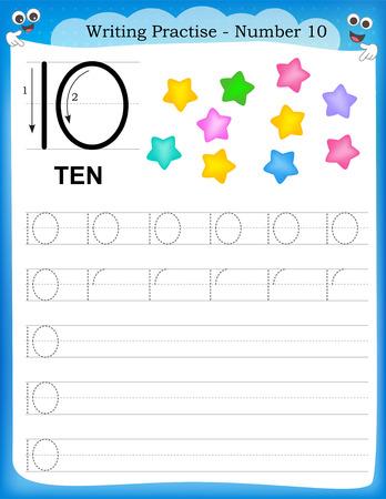연습 번호를 유치원 / 유치원 아이들을위한 열 인쇄 할 수있는 워크 시트를 작성하는 것은 기본 쓰기 능력을 향상시키기 위해 스톡 콘텐츠 - 44302022