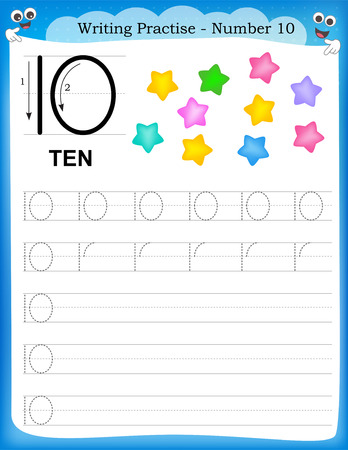 Writing practice number ten printable worksheet for preschool / kindergarten kids to improve basic writing skills