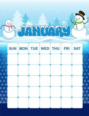 january: Colorful wall calender page template with seasonal graphics for each month. January winter themed calender page