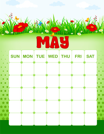 Colorful wall calender page template with seasonal graphics for each month. May spring floral themed calender page