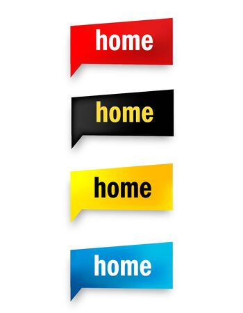abode: Home speech bubble  web button collection isolated on white Illustration