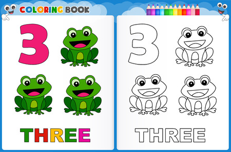 Coloring page number three with colorful sample printable worksheet for preschool / kindergarten kids to improve basic coloring skills Illusztráció