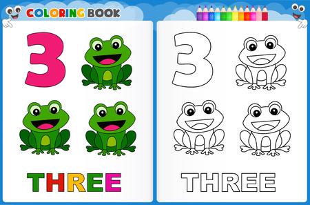 preescolar: Dibujo para el número tres con coloridos hoja de trabajo imprimible muestra para los niños de preescolar  jardín de infantes para mejorar las habilidades básicas para colorear Vectores