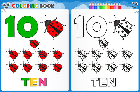 kindergarten early education: Coloring page number ten with colorful sample printable worksheet for preschool  kindergarten kids to improve basic coloring skills Illustration