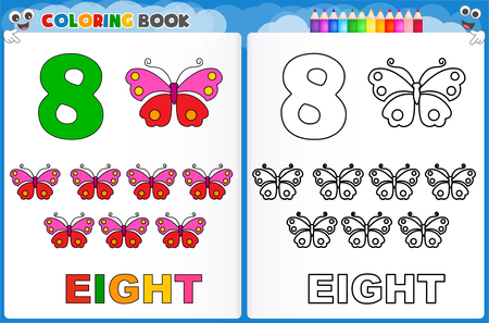 Coloring page number eight with colorful sample printable worksheet for preschool / kindergarten kids to improve basic coloring skills