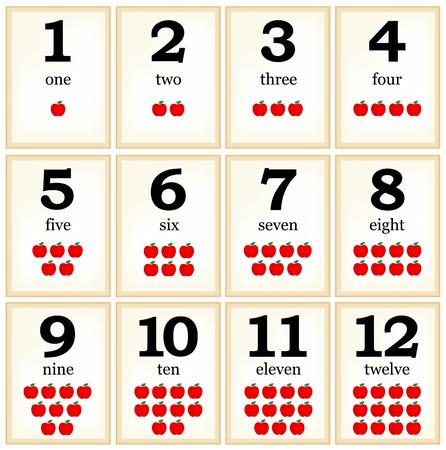 preescolar: Imprimir colletion tarjeta de memoria flash para los números con las manzanas para los niños del preescolar  | vamos a aprender los colores Vectores