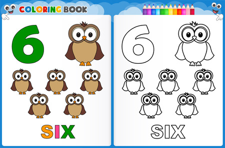number of animals: Coloring page number six with colorful sample printable worksheet for preschool  kindergarten kids to improve basic coloring skills