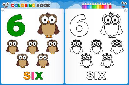 kinder: Dibujo para el número seis con coloridos hoja de trabajo imprimible muestra para los niños de preescolar  jardín de infantes para mejorar las habilidades básicas para colorear