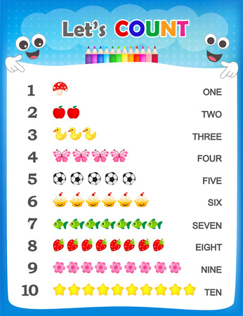 Numbers and counting practice printable worksheet forpre school  kindergarten kids Illustration