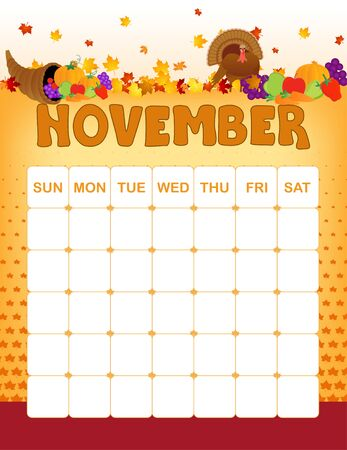 november: Colorful wall calender page template with seasonal graphics for each month. November autumn and thanksgiving themed calender page Illustration