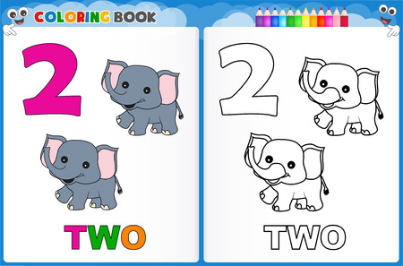 Coloring page number two with colorful sample printable worksheet for preschool / kindergarten kids to improve basic coloring skills