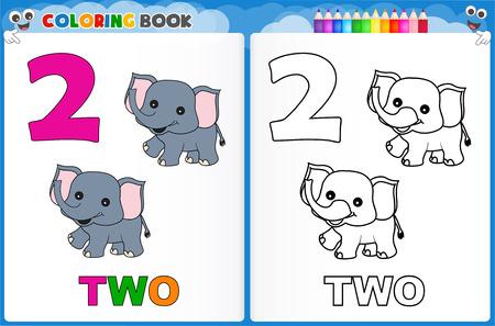 Coloriage numéro deux avec coloré feuille de travail imprimable échantillon préscolaire / maternelle des enfants pour améliorer les compétences de base de colorants Banque d'images - 44302078