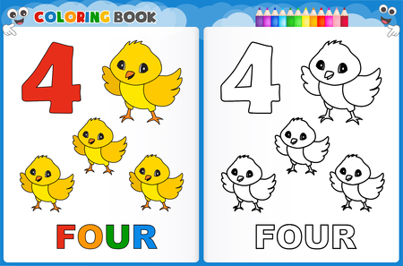 Coloring page number four with colorful sample printable worksheet for preschool / kindergarten kids to improve basic coloring skills 免版税图像 - 44302080