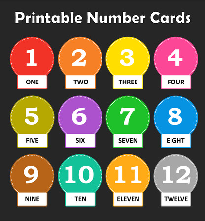 number eleven: Printable flash card colletion for numbers and their names for preschool  kindergarten kids | lets learn colors Illustration