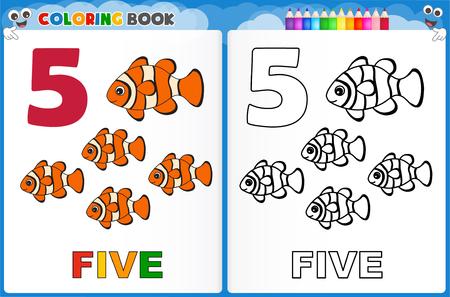 Coloring page number five with colorful sample printable worksheet for preschool / kindergarten kids to improve basic coloring skills