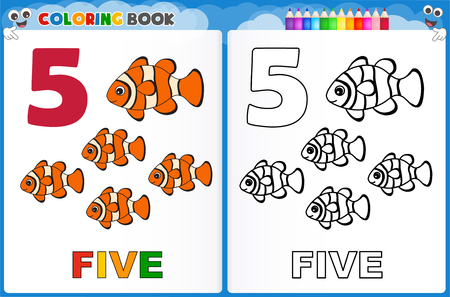 kindergarten early education: Coloring page number five with colorful sample printable worksheet for preschool  kindergarten kids to improve basic coloring skills